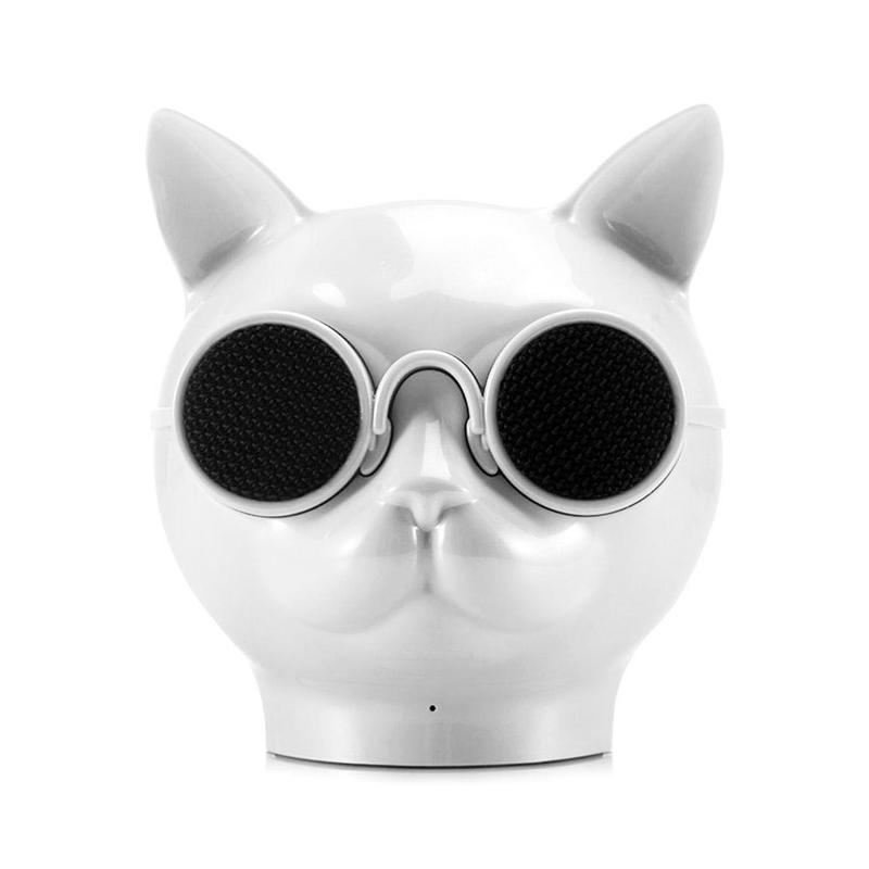 Mini Cat Head Colorful Wireless Bluetooth Speaker Cute Cartoon Music Audio Player Super Bass Loudspeaker - White
