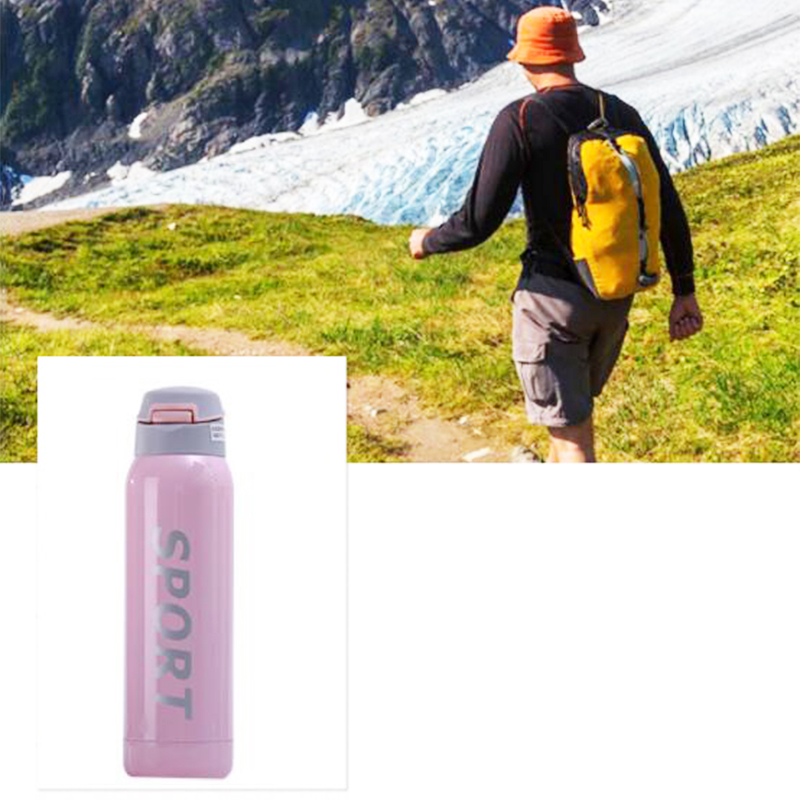 500ML Portable Travel Bounce Switch Water Flask Stainless Steel Vacuum Insulated Water Bottle - Pink