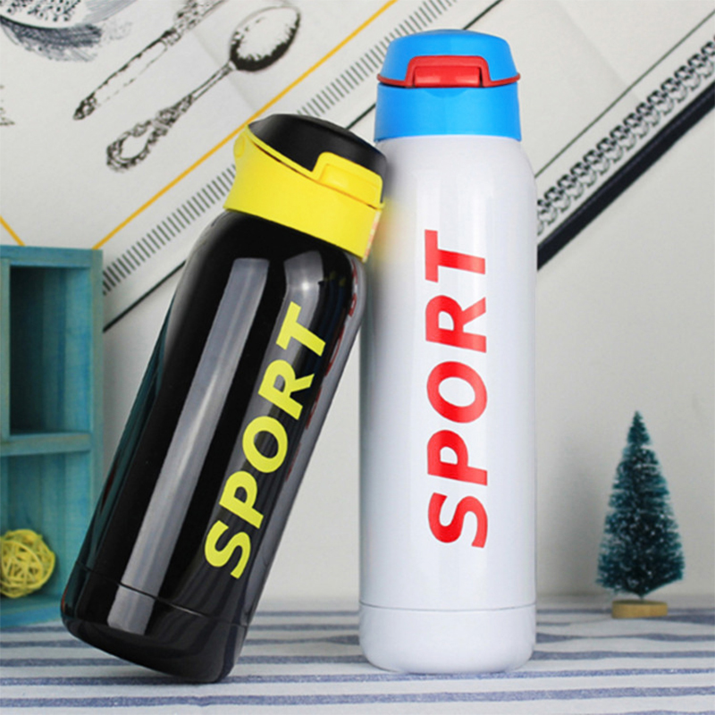 500ML Portable Travel Bounce Switch Water Flask Stainless Steel Vacuum Insulated Water Bottle - White
