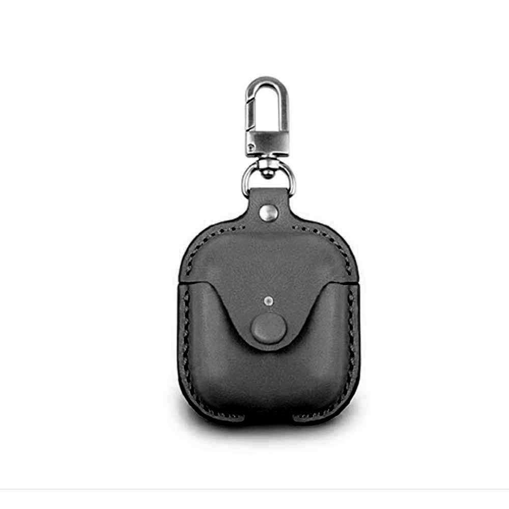 Wireless Bluetooth Earphone Protective Charging Case Leather Cover Pouch with Hook for Apple AirPods - Black