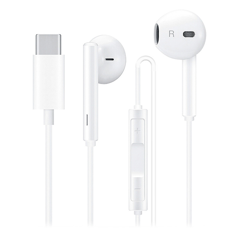 USB Type C in-Ear Headphones Fashion Running Sport Wired Earphone 1.1m - White