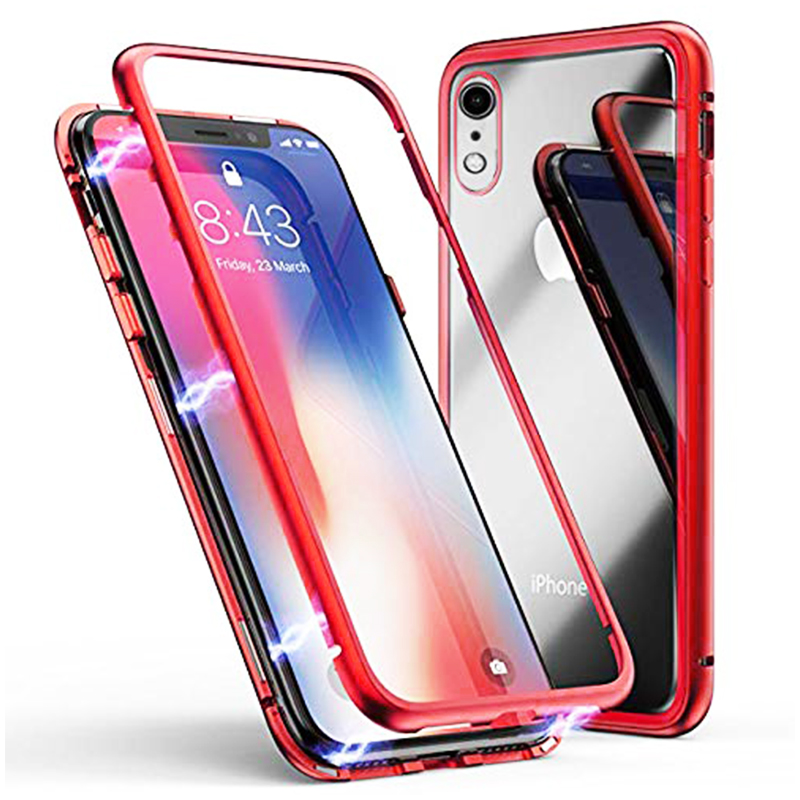 Magnetic Adsorption Metal Edge Tempered Glass Back Case Phone Full Cover for iPhone XR - Transparent Red