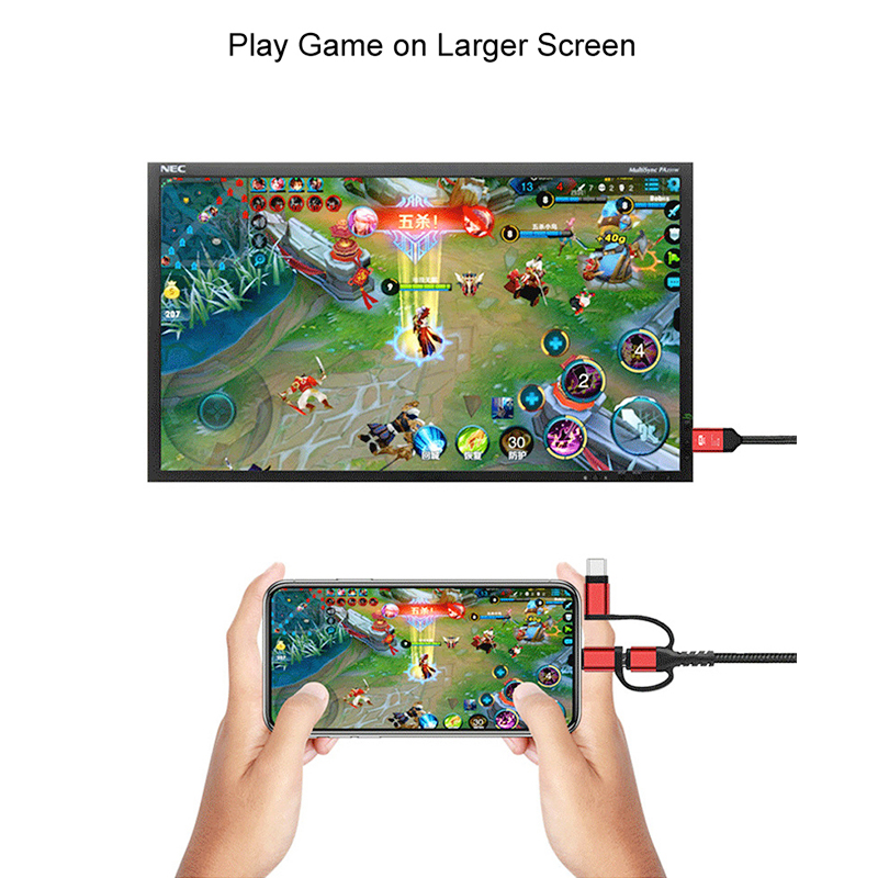 3 in 1 8pin/Micro USB/Type-C to HDMI Adapter Cable for iOS Android Devices - Red