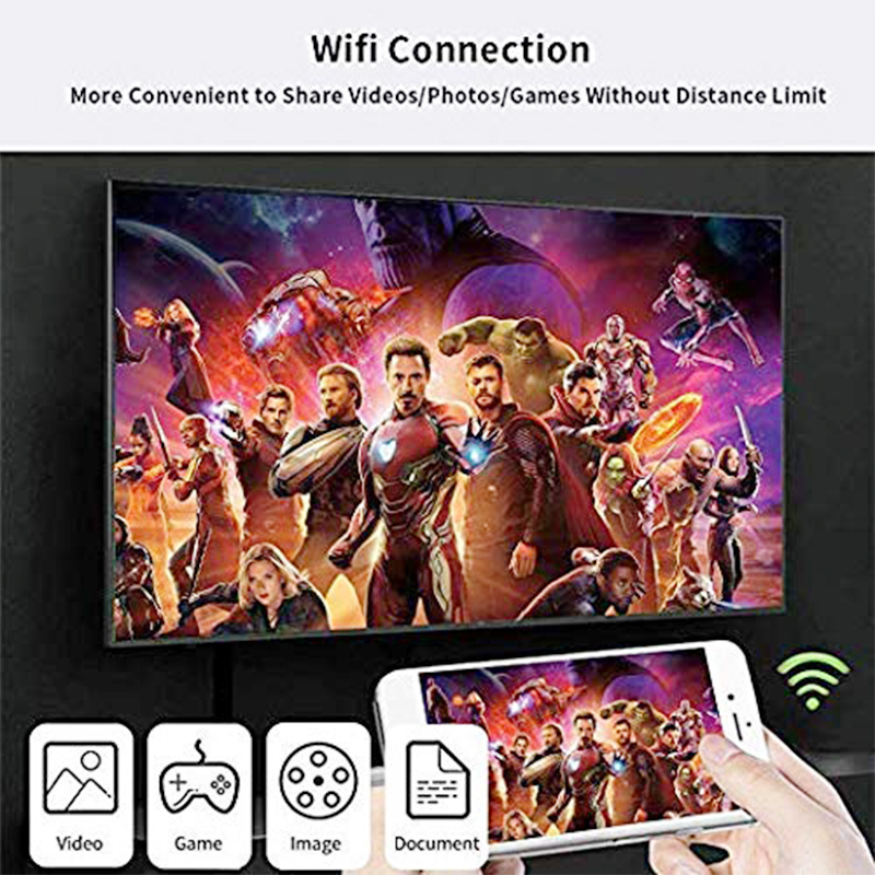 Phone to HDTV Cable Wireless Wired Display Dongle Projector Connector for iOS Android Tablet
