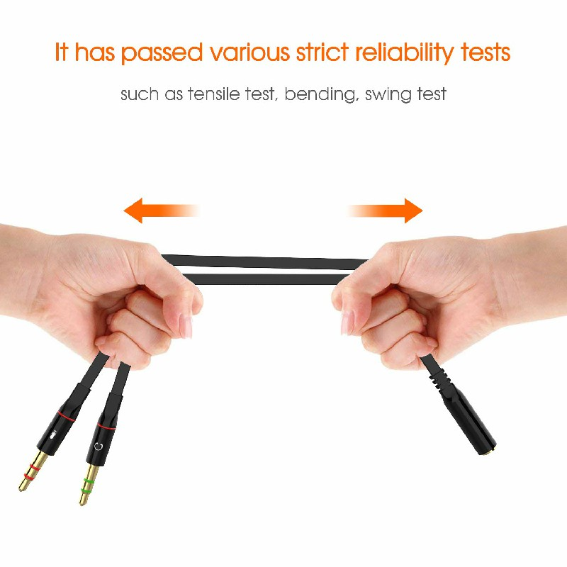 3.5 mm Jack 2 Male Gold-plated Headphone Microphone Audio Y Splitter Display Cable - Black