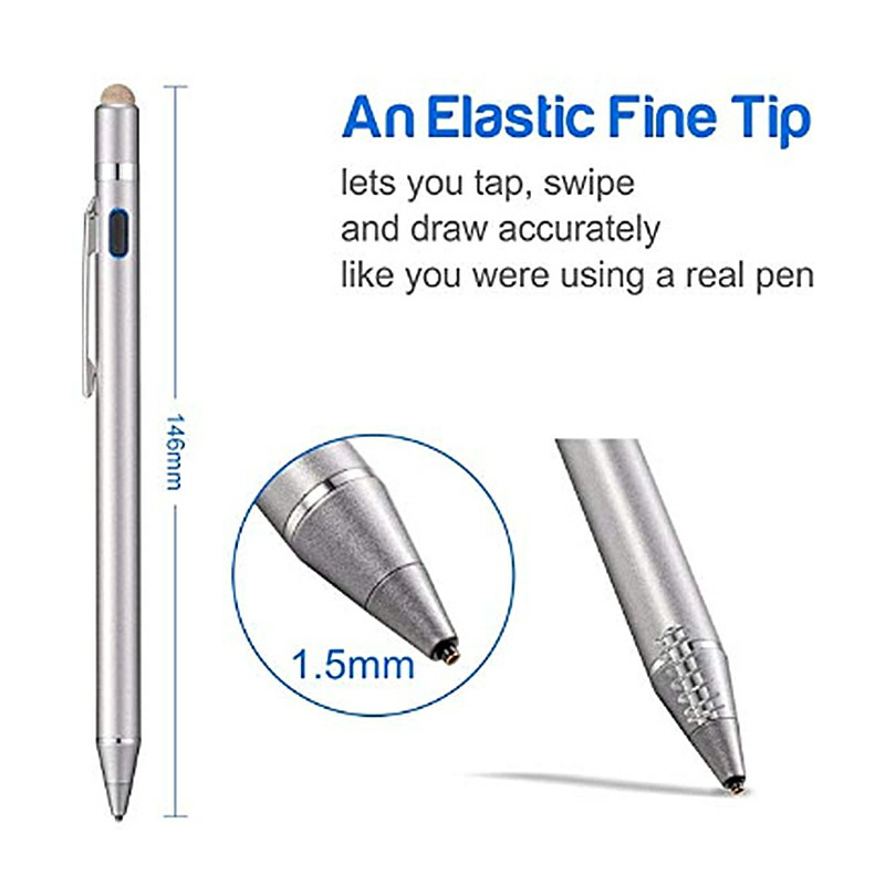 iPad Mobile Phone Stylus Pen High Precision and Sensitivity Point Capacitive Stylus with CE Certification - Silver
