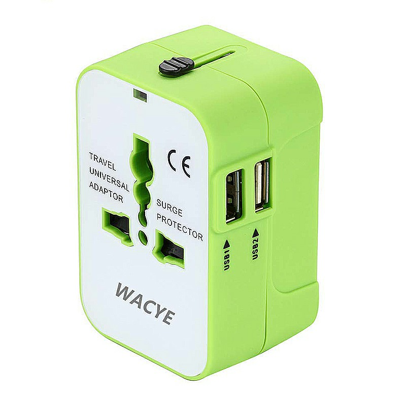 Universal Worldwide Travel Plug Converter Adapter with Dual USB Ports Charger Adapter - Green