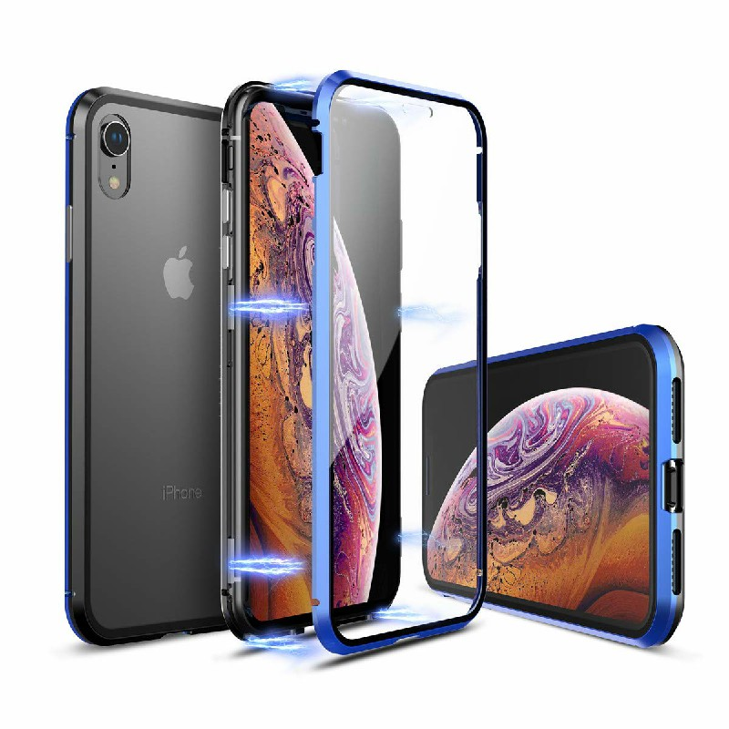 Magnetic Adsorption Metal Edge Phone Case Mirror Back Cover and Screen Protector for iPhone XR - Blue