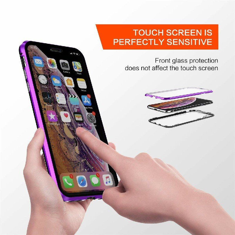 Magnetic Adsorption Metal Edge Phone Case Mirror Back Cover and Screen Protector for iPhone XR - Purple