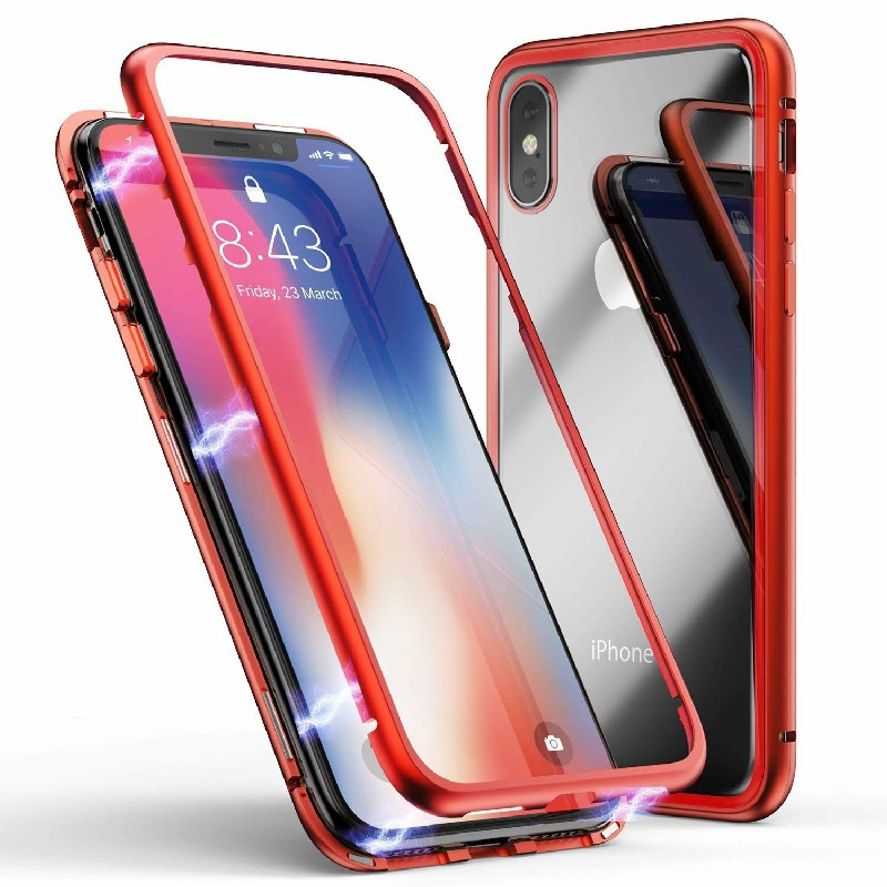 Metal Edge Phone Cover Tempered Glass Back Case and Screen Protector for iPhone XS - Red