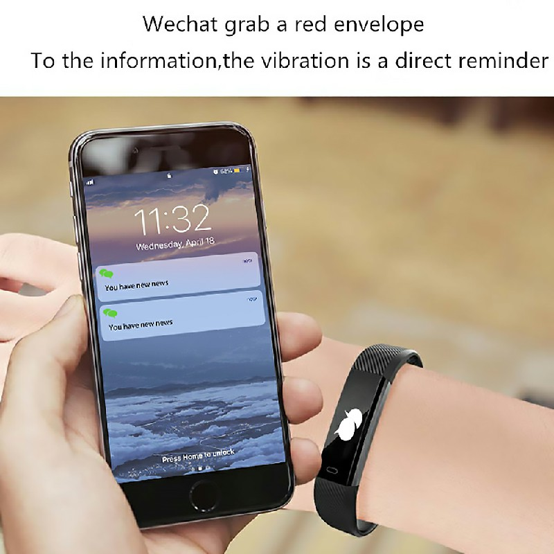 Bluetooth Smart Sport Bracelet Wrist Watch Touch Screen for iOS Android - Black
