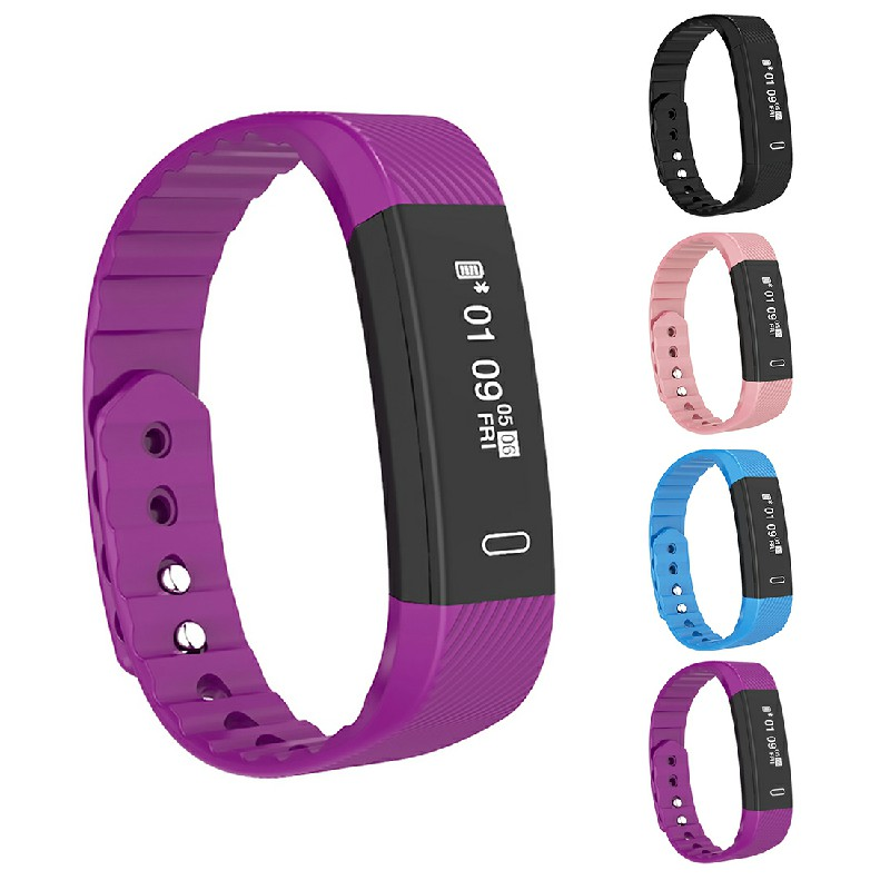 Bluetooth Smart Sport Bracelet Wrist Watch Touch Screen for iOS Android - Purple