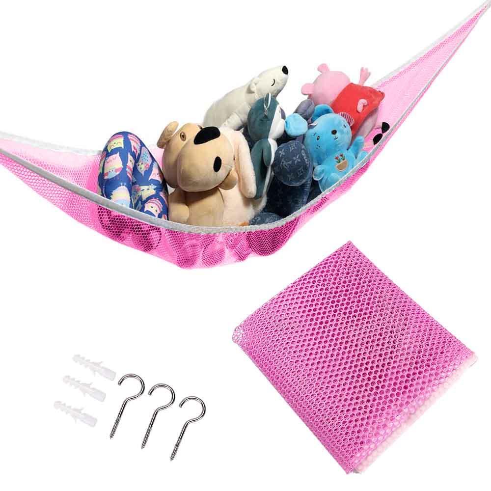 Kids Child Baby Bedroom Toy Storage Organizer Toy Hammock Net Mesh Hanging Network - Pink
