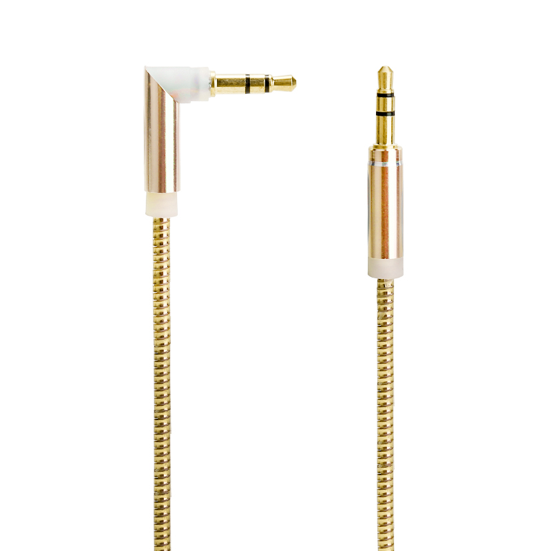 3.5mm to 3.5mm Jack Cable Spring Cable Male to Male Stereo Audio Aux Cable - Gold