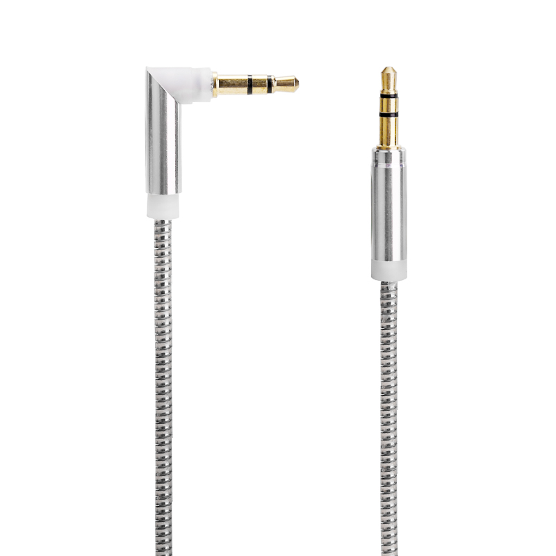 3.5mm to 3.5mm Jack Cable Spring Cable Male to Male Stereo Audio Aux Cable - Silver