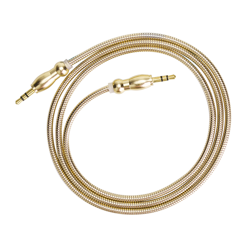 Gourd Shape Plug 3.5mm to 3.5mm Jack Cable Male to Male Stereo Audio Aux Cable - Gold
