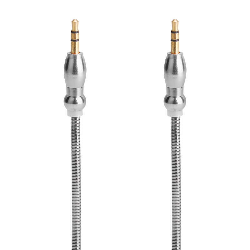 Gourd Shape Plug 3.5mm to 3.5mm Jack Cable Male to Male Stereo Audio Aux Cable - Silver