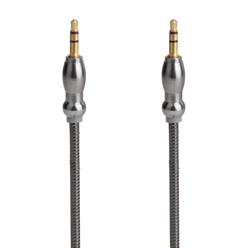 Gourd Shape Plug 3.5mm to 3.5mm Jack Cable Male to Male Stereo Audio Aux Cable - Black