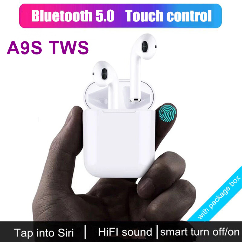 A9S TWS 5.0 Wireless Headphone Touch Control Hifi Sound Headset Fit for Various Bluetooth Devices