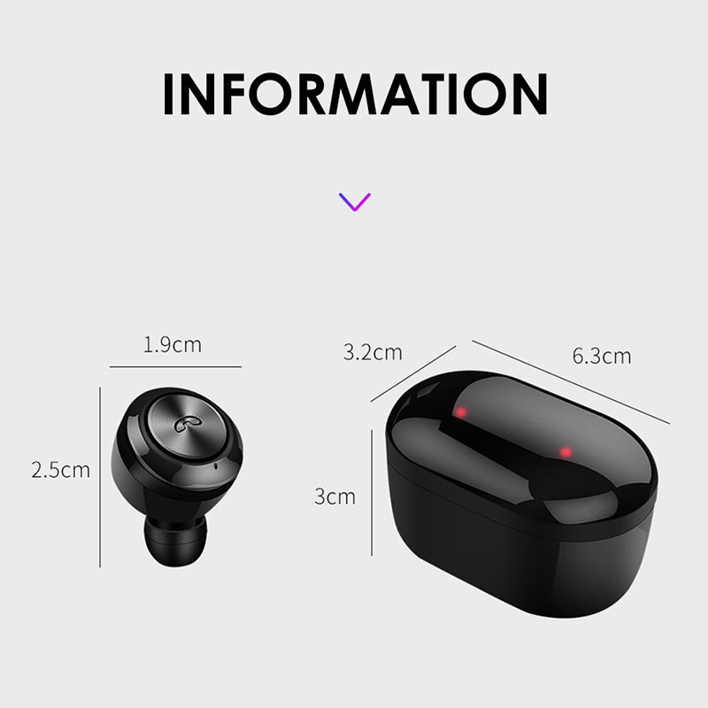 A6 TWS 5.0 Mini Wireless Earbuds Bluetooth Earphone Headset for Android iOS Cellphone - Black
