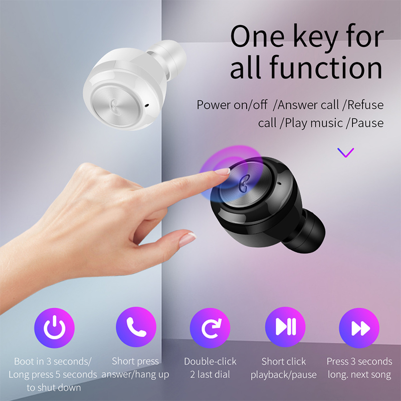 A6 TWS 5.0 Mini Wireless Earbuds Bluetooth Earphone Headset for Android iOS Cellphone - White