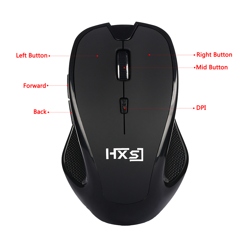 A887 2.4G Wireless Mouse 2400DPI Optical Mini Portable 6 Keys Mouse with USB Receiver - Black