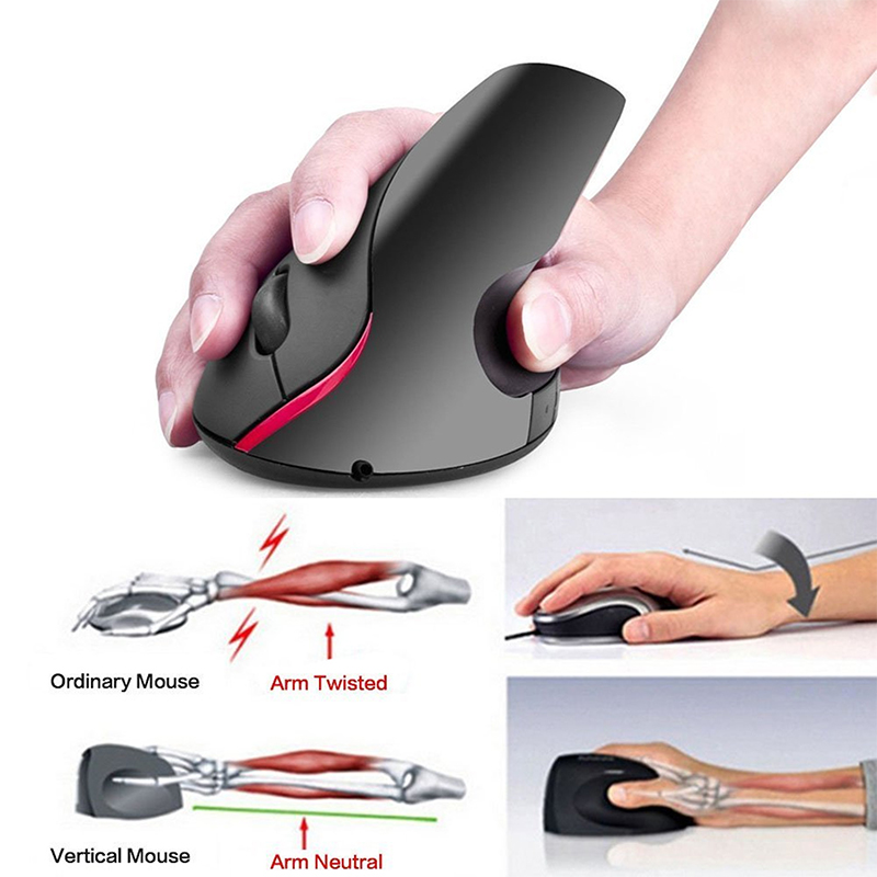 A889 2.4G Chargable Wireless Mouse 2400DPI Vertical Health Mouse with USB Receiver for Mac PC - Grey