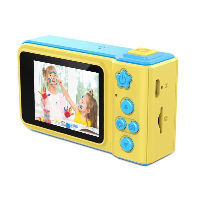 Children Kids Cartoon Digital Camera TF Card 1080P 720P VGA Video Photo Sticker Filter Game - Blue