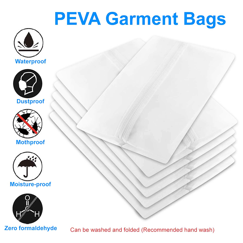 5 pcs Washable Clear Lightweight Zipper Garment Dustproof Nonwoven Bags for Travel&Home Use(60x100) - L