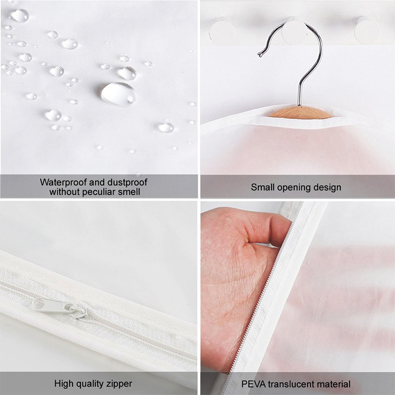 5 pcs Washable Clear Lightweight Zipper Garment Dustproof Nonwoven Bags for Travel&Home Use(60x90) - M