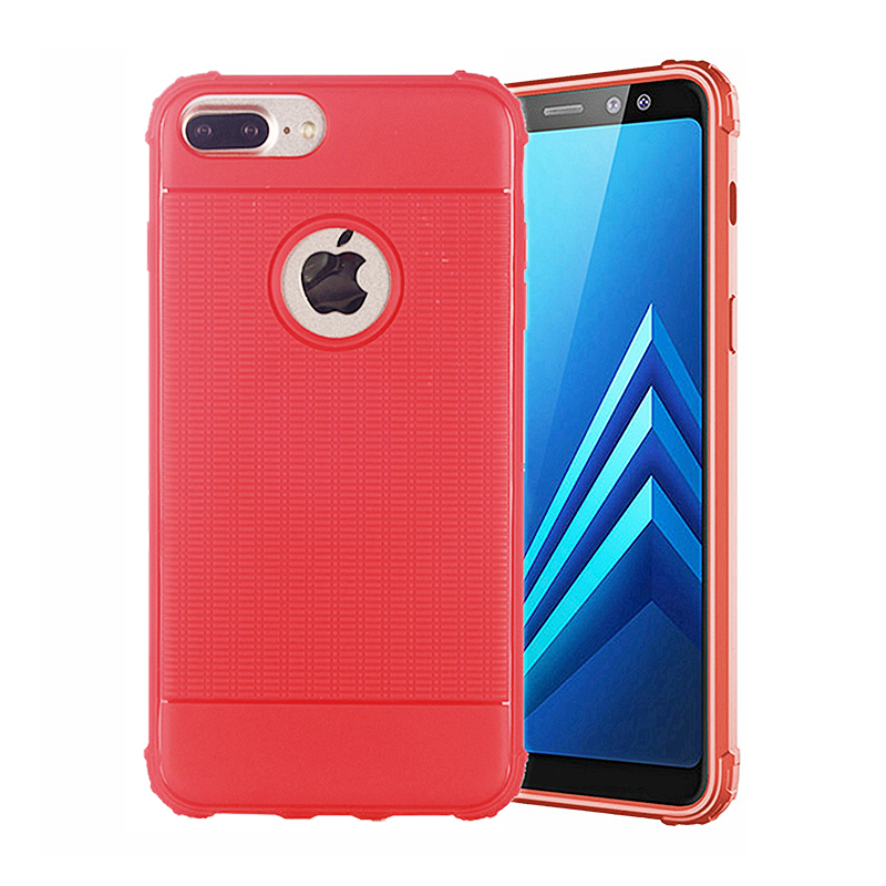 Grainy Good Hand Feeling Soft TPU Back Case Mobile Phone Cover for iPhone 7/8 Plus - Red