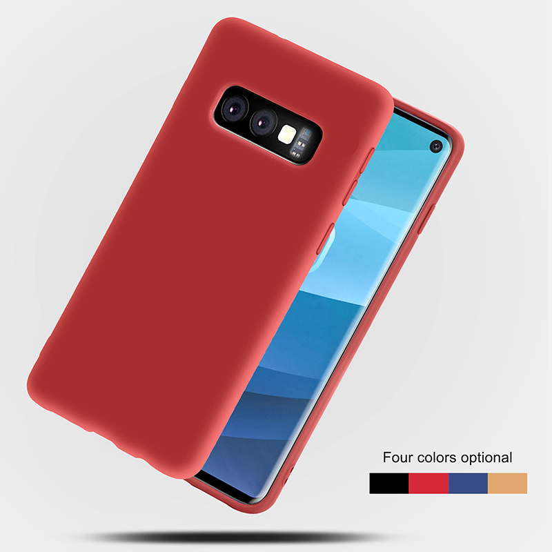TPU Matte Soft Shell Back Case Phone Cover Anti-slip for Samsung Galaxy S10e - Red