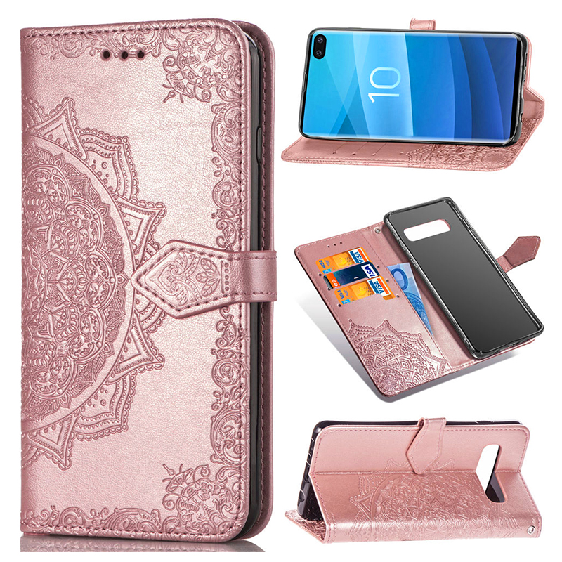 PU Leather Card Wallet Phone Case with Stand Holder for Samsung Galaxy S10 Plus - Pink