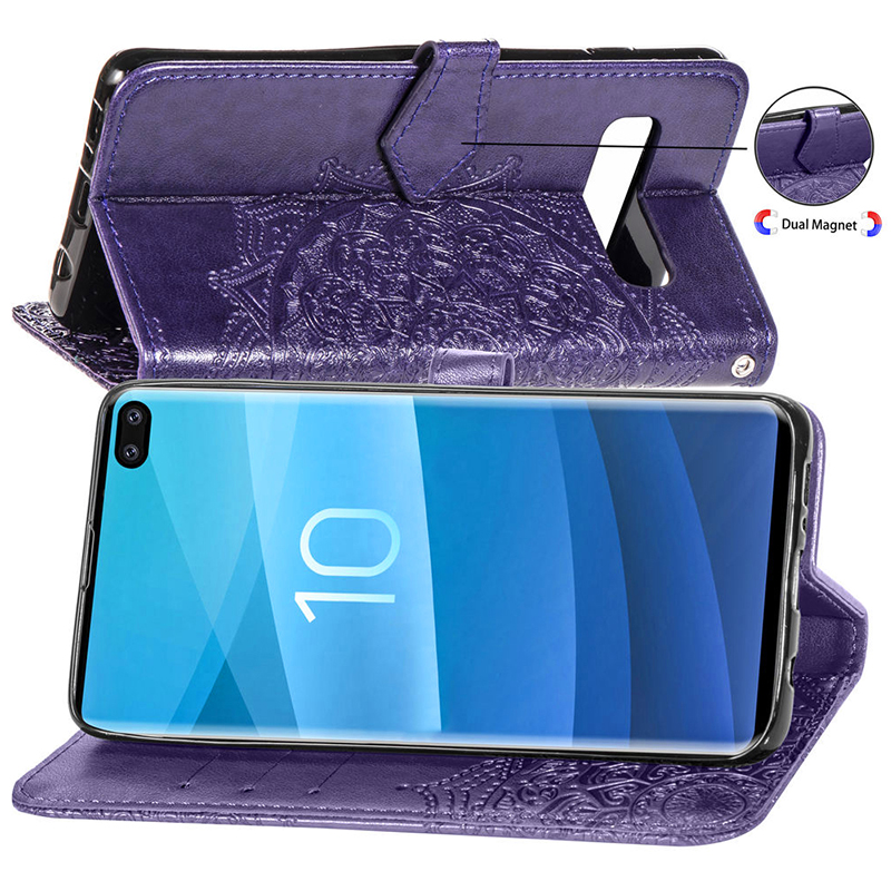 PU Leather Card Wallet Phone Case with Stand Holder for Samsung Galaxy S10 Plus - Purple