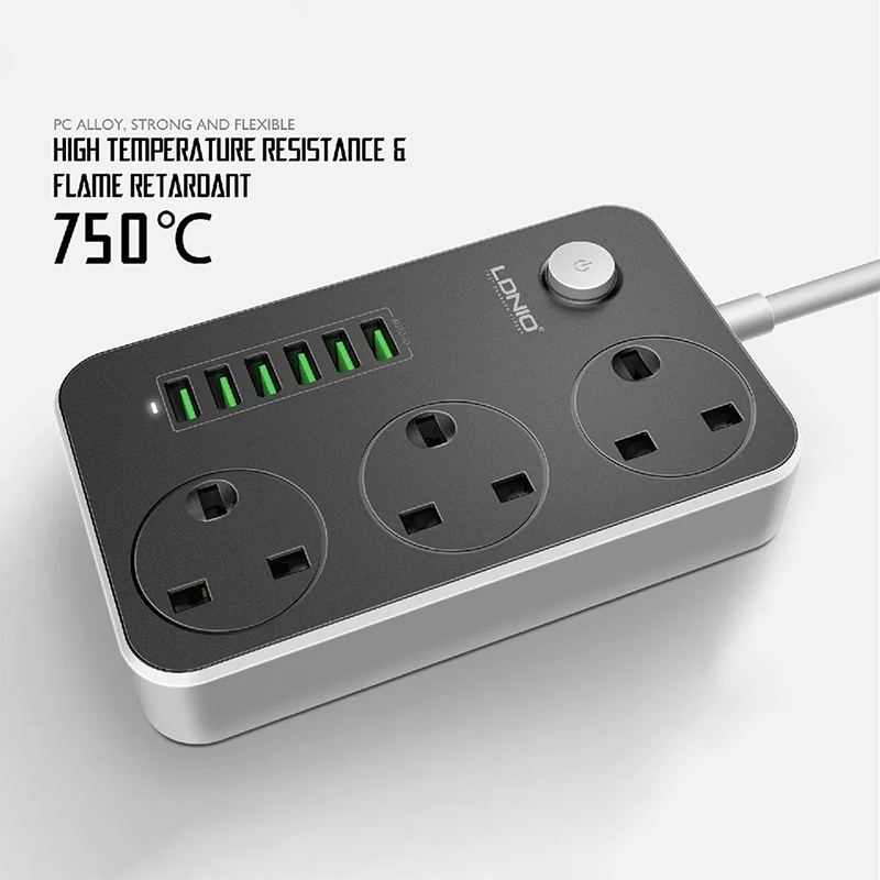 UK Smart Power Strip USB 6-Port Electrical Outlet Extension Power Wall Charger Adapter Phone Laptop Desktop Fast Charging