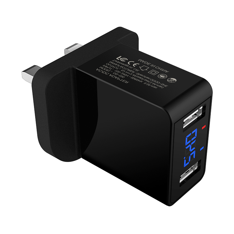 5V 2.4A UK Plug Digital Display Dual USB Wall Charger Travel Charging Head CE Certification - Black