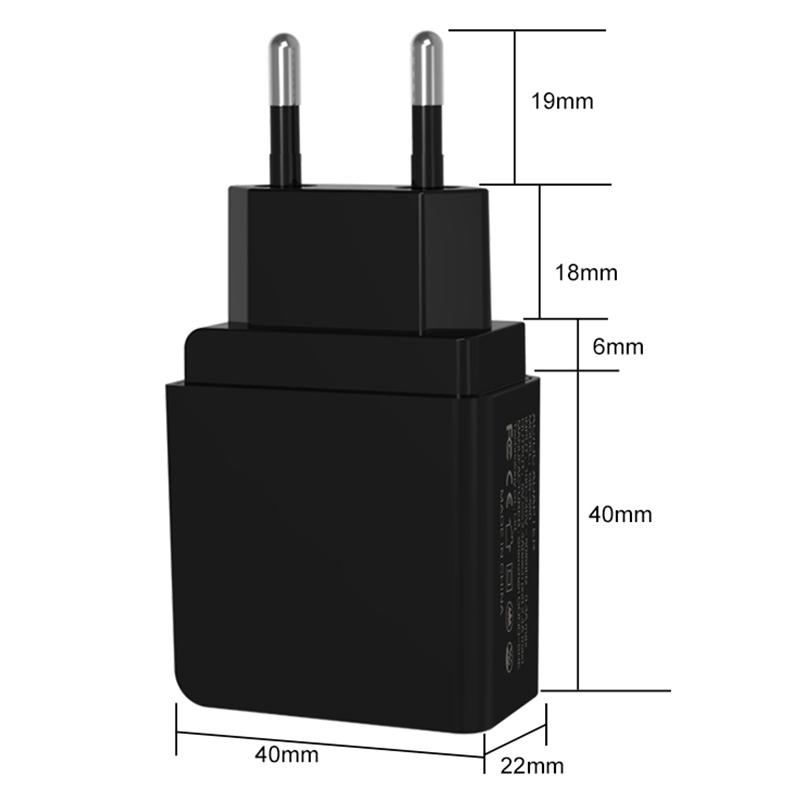 5V 2.4A EU Plug Digital Display Dual USB Wall Charger Travel Charging Head CE Certification - Black