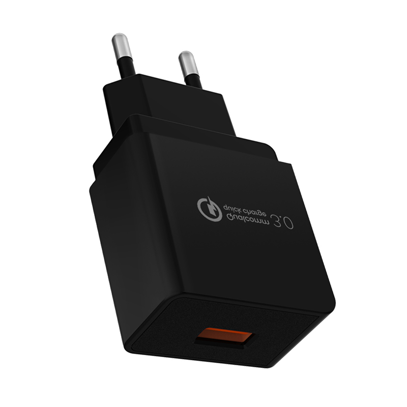 EU Fast Quick Charge 3.0 USB Wall Charger Charging Head CE Certification - Black