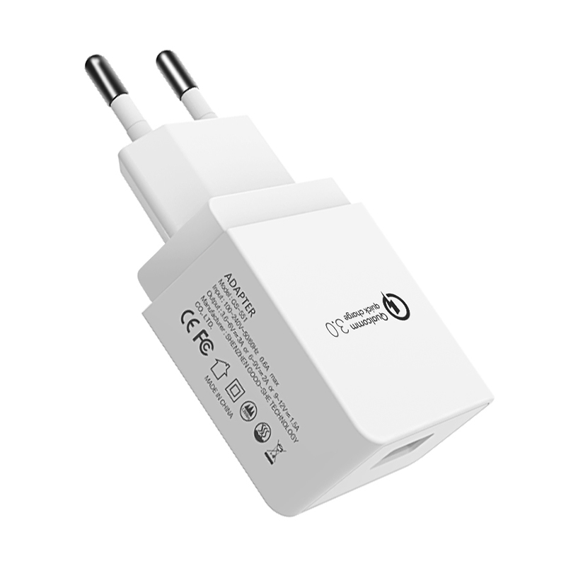 EU Fast Quick Charge 3.0 USB Wall Charger Charging Head CE Certification - White