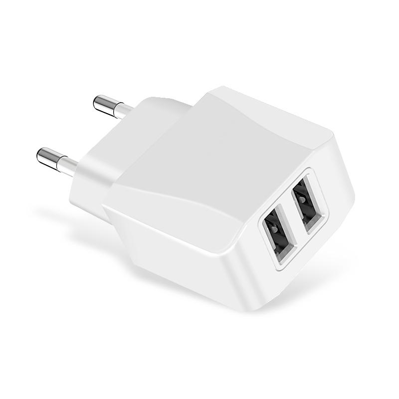 5V 2.1A EU Plug Dual USB Port Wall Quick Charger Adapter Travel Charging Head CE Certification - White