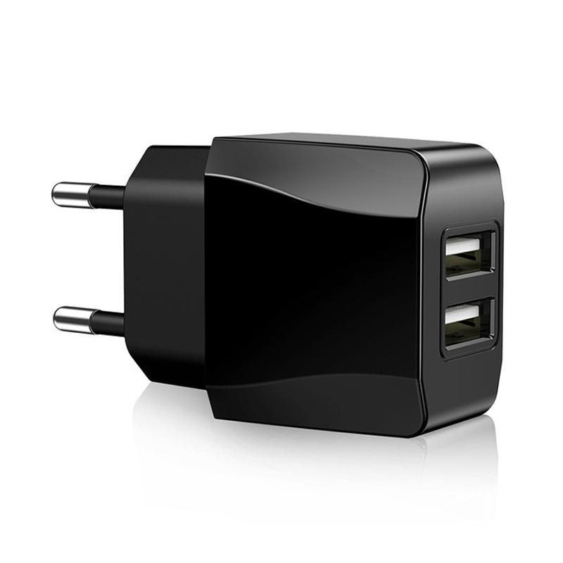 5V 2.1A EU Plug Dual USB Port Wall Quick Charger Adapter Travel Charging Head CE Certification - Black