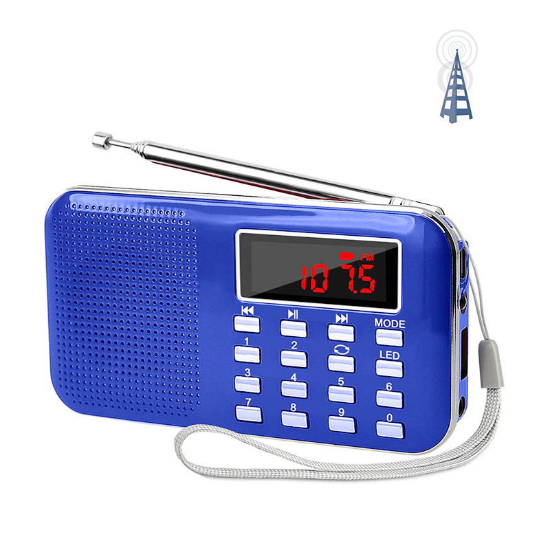 Mini Portable Fm Radio MP3 Music Player Speaker Support Micro SD/TF Card - Blue