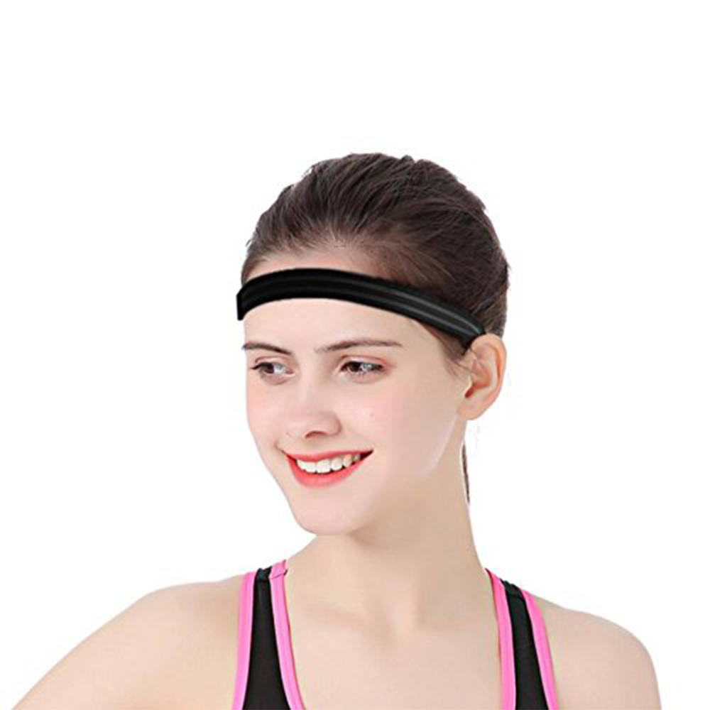 Silicone Non-slip Sports Stop Sweat Wicking Headband Running Head Belt Fitness Yoga Hairband - Black