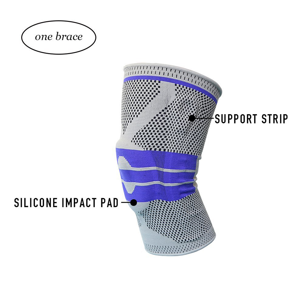 Knitted Breathable Knee Support Sports High Compression Pad Knee Sleeve Nylon Silicon Brace - M