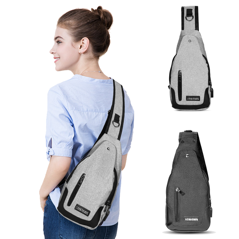 Men's USB Charging Chest Pack Anti Theft Travel Sport Messenger Single Shoulder Waist Bag - Grey