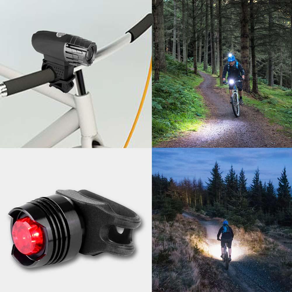 USB Rechargeable Waterproof Bike Cycling Light Headlights + Taillights Tail Lamp Set