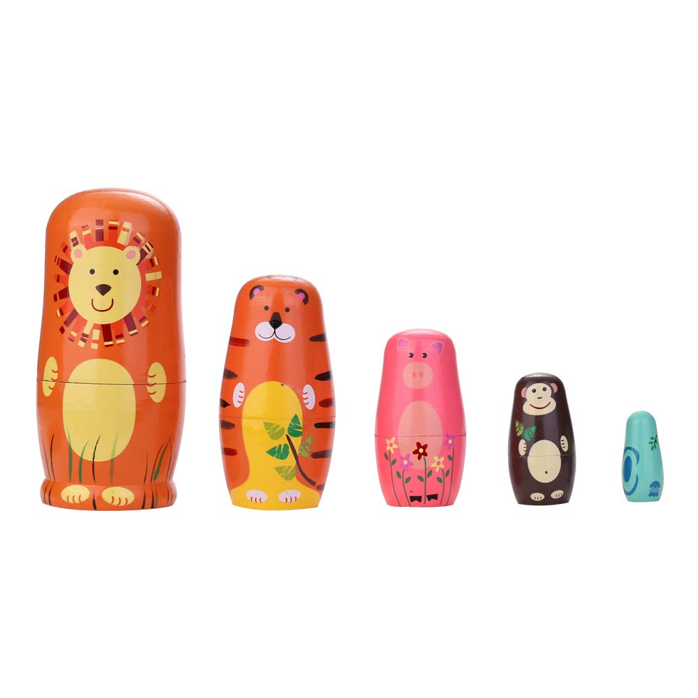 5pcs Russian Doll Novelty Nesting Wooden Matryoshka Doll Set Hand Painted Decor Baby Toy Girl Doll