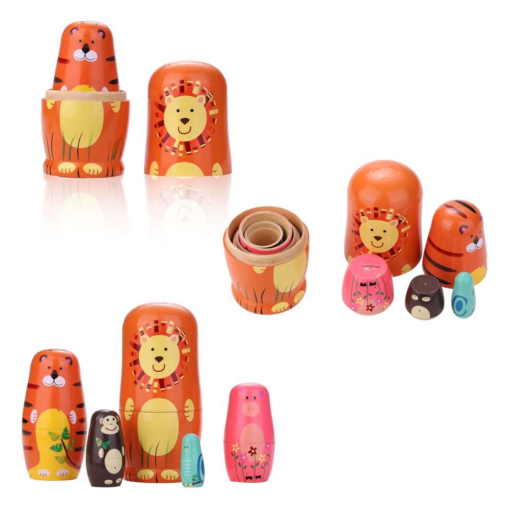 5pcs Russian Doll Novelty Nesting Wooden Matryoshka Doll Set Hand Painted Decor Baby Toy Girl Doll