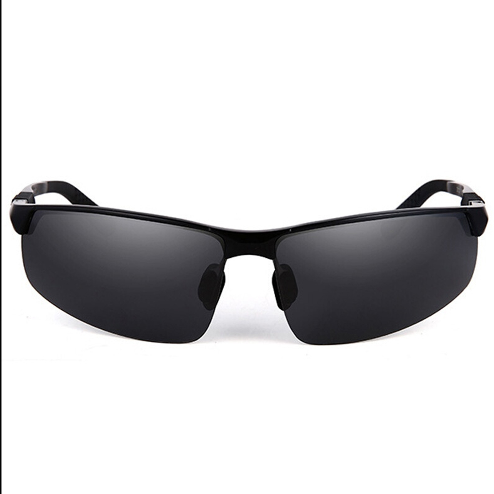 Sports Aluminum Magnesium Men's Polarized Sunglasses Pilot Driving Glasses - Black