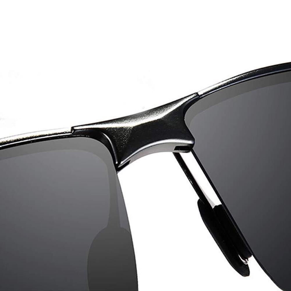 Sports Aluminum Magnesium Men's Polarized Sunglasses Pilot Driving Glasses - Black